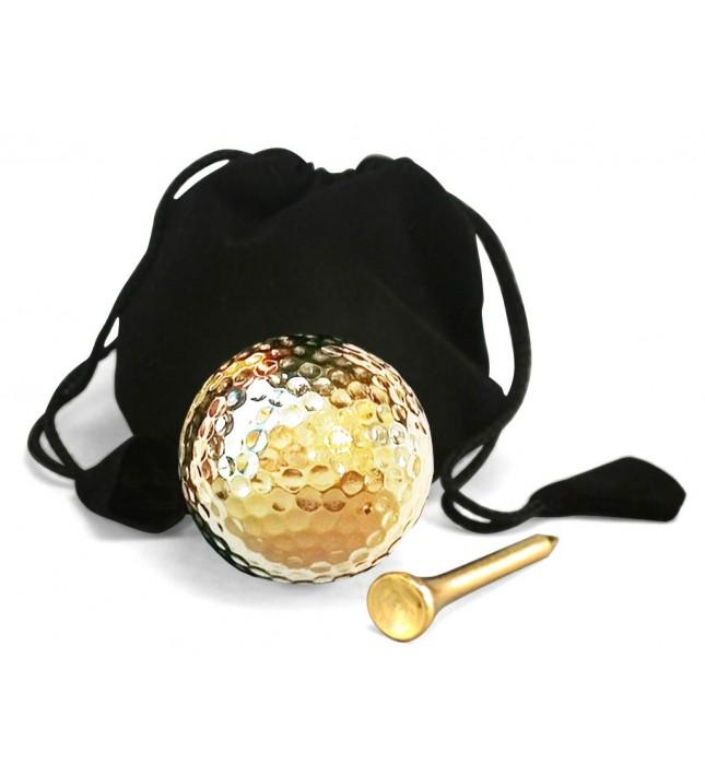 Display Golf Ball & Tee Set  24 Karat Gold-Dipped