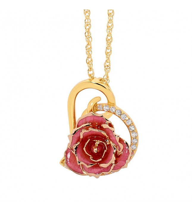 Pink Glazed Rose Heart Pendant 24K Gold