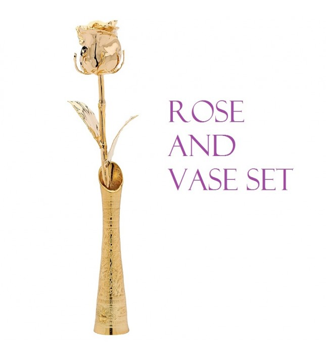 24k Gold-Dipped Rose and Vase Set