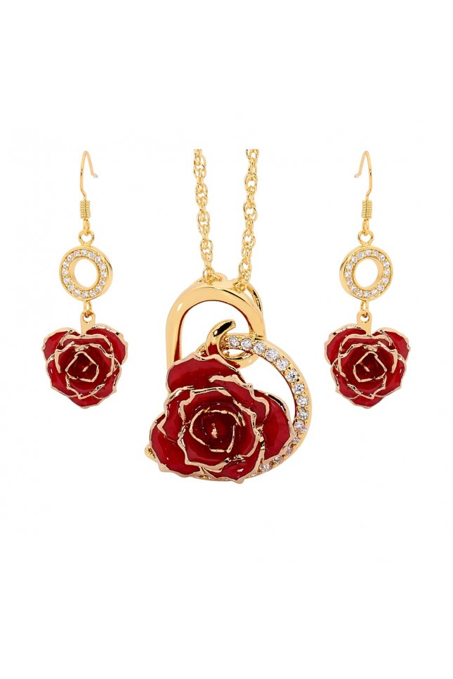 Red Heart Theme Pendant and Earring Set