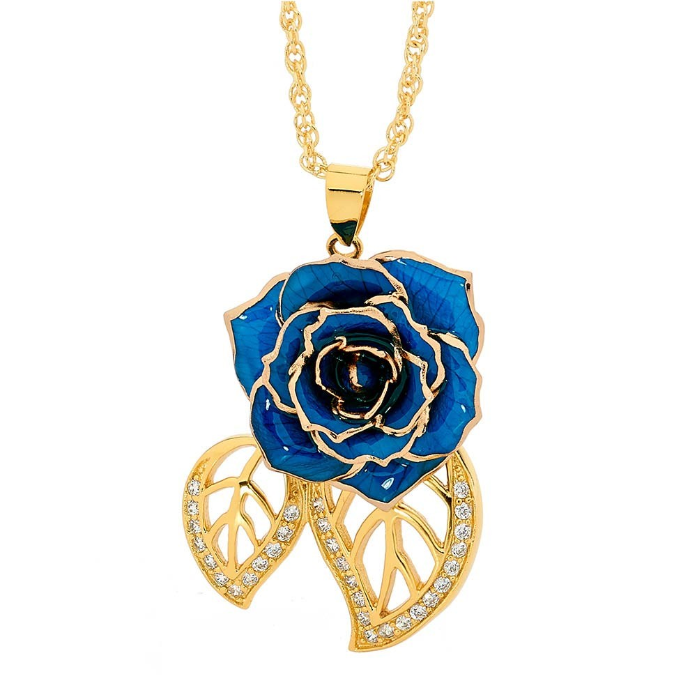 Blue glazed rose pendant in leaf theme 24k gold blue glazed rose pendant in 24k gold leaf theme aloadofball Images