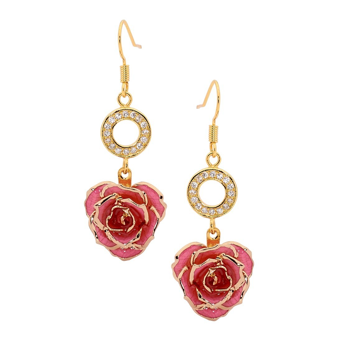 Gold Dipped Rose & Pink Matched Jewelry Set in Heart Theme