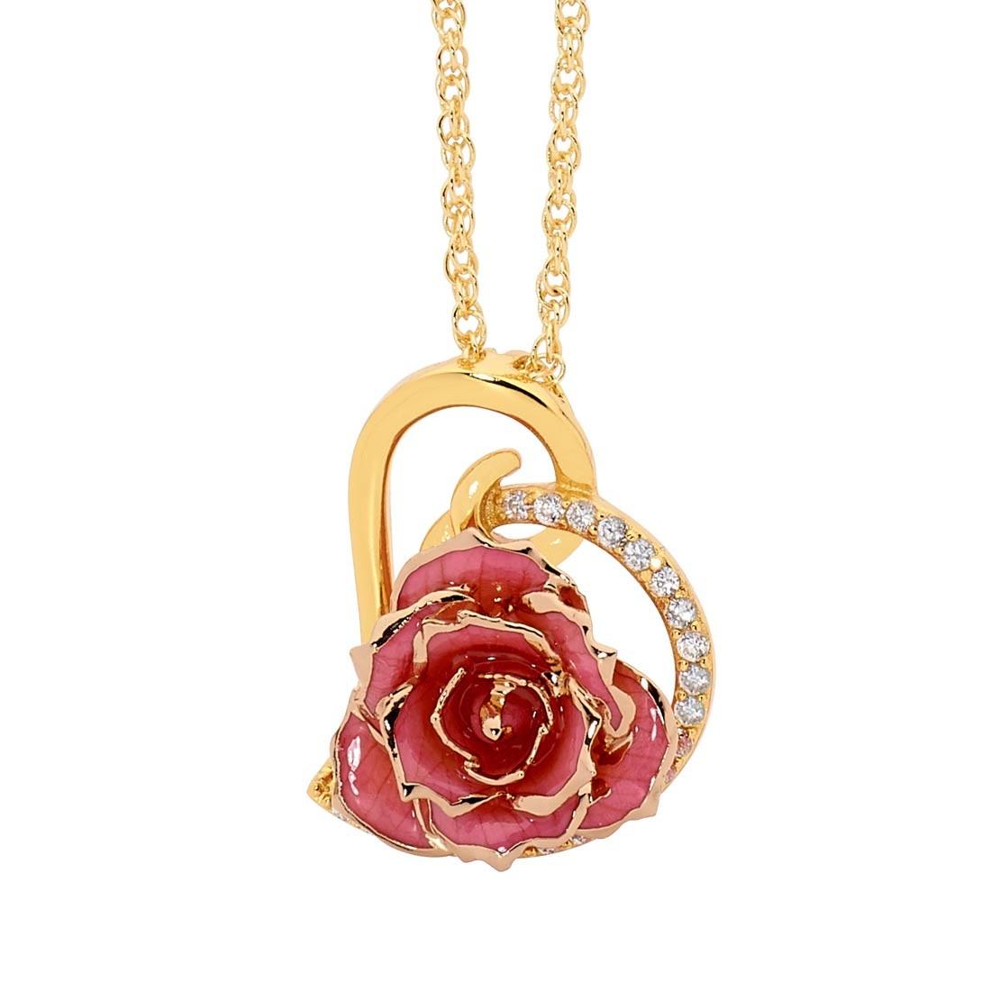Glazed rose heart pendant 24k gold pink glazed rose heart pendant 24k gold audiocablefo