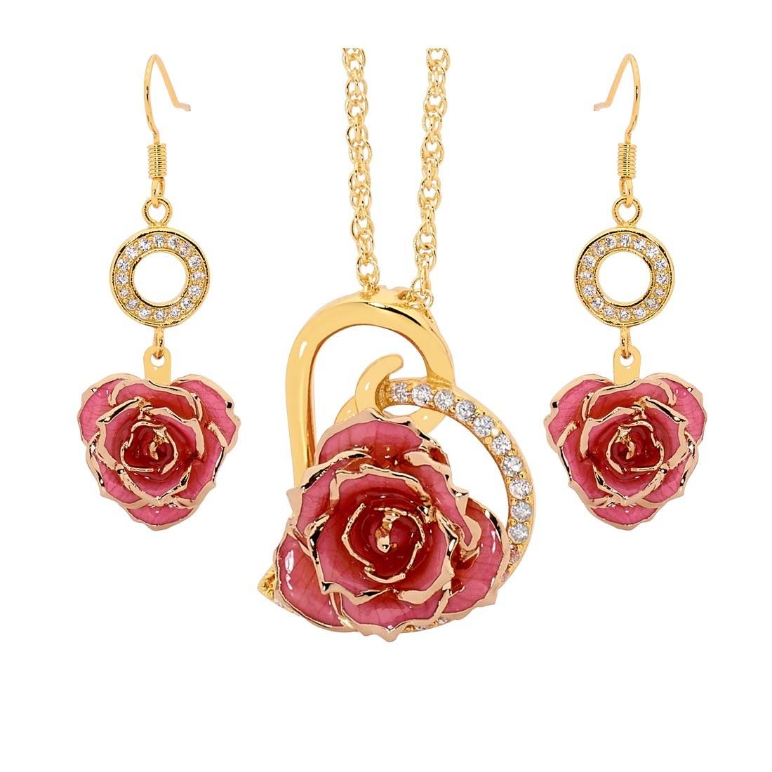 Pink matched set in 24k gold heart theme glazed rose pendant back audiocablefo light ideas