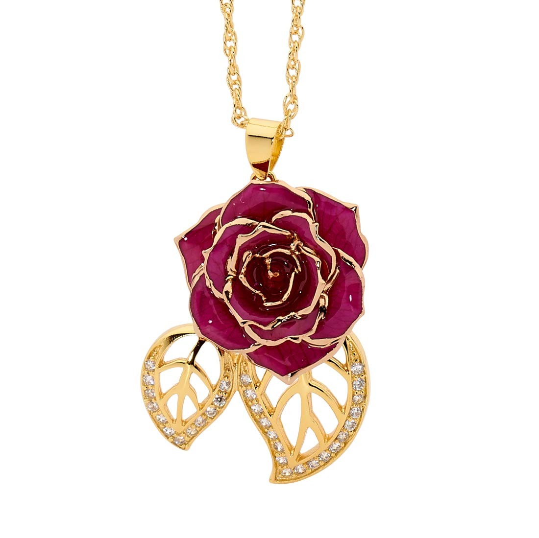 Purple glazed rose pendant in leaf theme 24k gold purple glazed rose pendant in 24k gold leaf theme mozeypictures Gallery