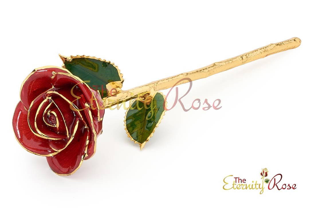 Gifts for her red glazed rose back negle Choice Image