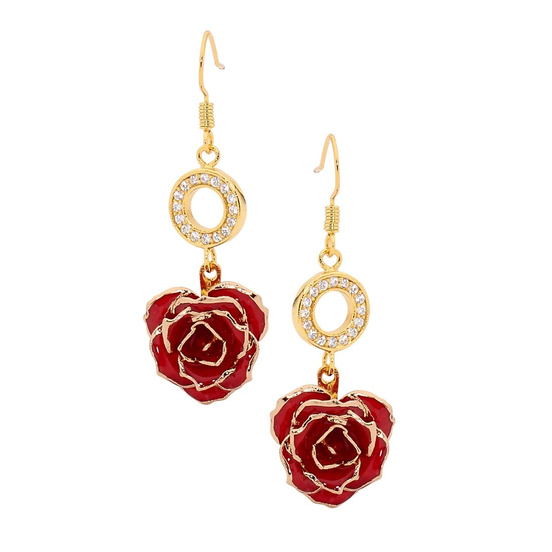 284f6a56f0329 Red Glazed Rose Earrings in 24K Gold