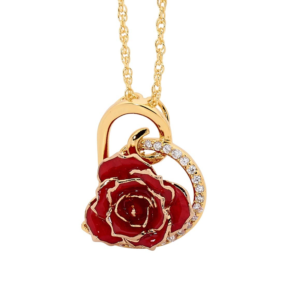 Gold and Red Pendant Necklace