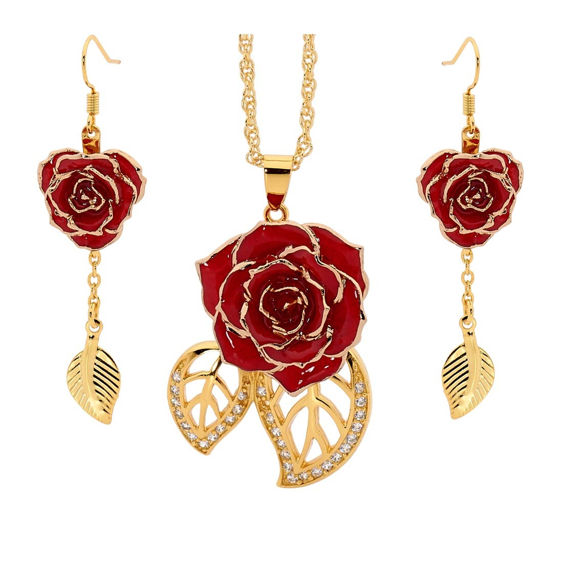 rg gold ruby rose nl diamond with chain dangle jewelry earrings drop red in earring