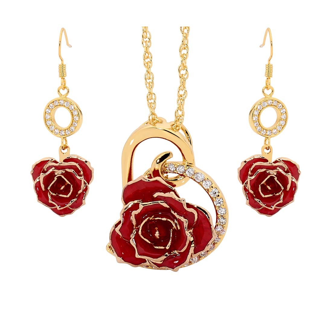 Gold Dipped Rose Amp Red Matched Jewelry Set In Heart Theme