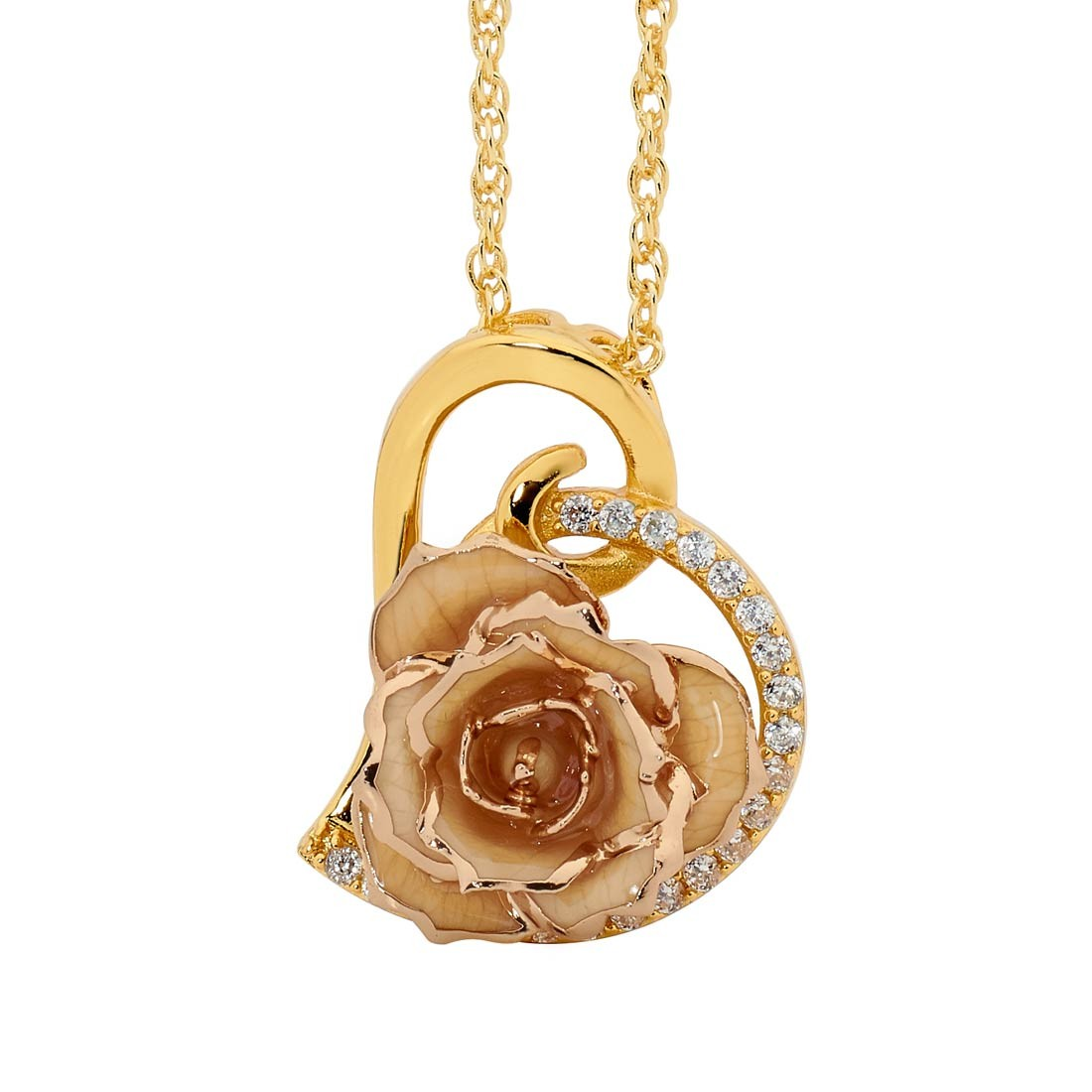 White glazed rose heart pendant 24k gold aloadofball Images
