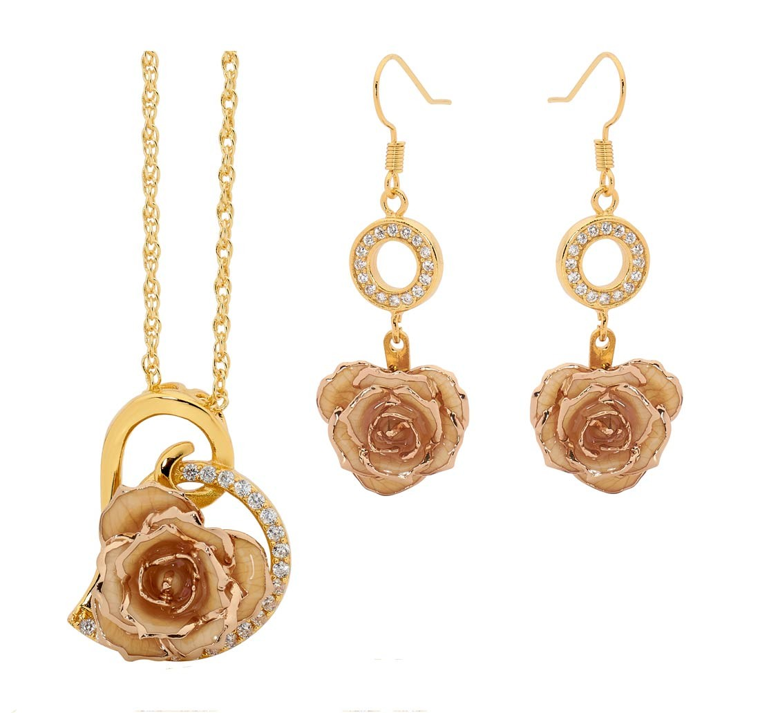 Gold Dipped Rose White Matched Jewelry Set in Heart Theme