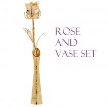 24k Gold-Dipped Rose and Vase Set