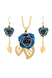 Blue Matched Set in 24k Gold Leaf Theme. Rose, Pendant & Earrings