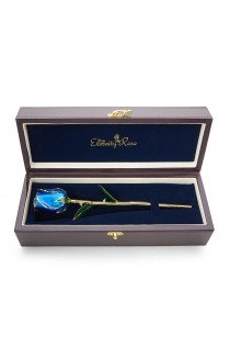 Blue Tight Bud Glazed Rose Trimmed with 24K Gold 11""