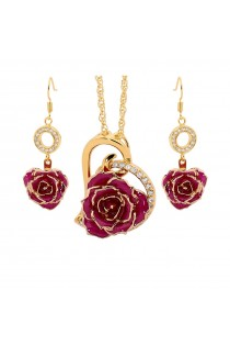 Purple Matched Set in Gold Heart Theme. Tight Bud Rose, Pendant & Earrings