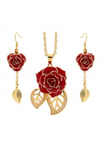 Red Matched Set in 24k Gold Leaf Theme. Rose, Pendant & Earrings