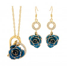 Blue Heart Theme Pendant and Earring Set