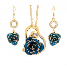 Blue Matched Set in Gold Heart Theme. Tight Bud Rose, Pendant & Earrings