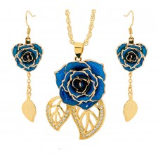 Blue Leaf Theme Pendant and Earring Set