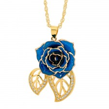 Blue Glazed Rose Pendant in 24K Gold Leaf Theme