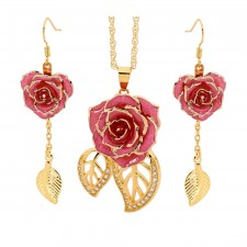 Pink Matched Set in Gold Leaf Theme. Tight Bud Rose, Pendant & Earrings