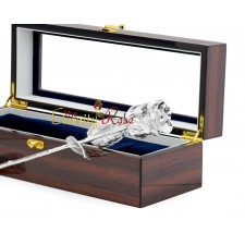 Platinum-Dipped Natural Rose. Woodgrain Window Box