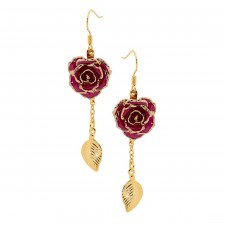 Purple Glazed Rose Earrings in 24K Gold Leaf Style