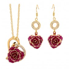 Purple Heart Theme Pendant and Earring Set