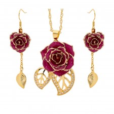 Gold-Dipped Rose & Purple Matched Jewelry Set in Leaf Theme