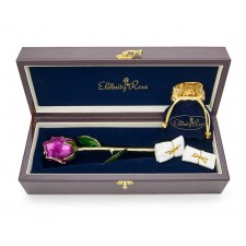 Purple Matched Set in Gold Leaf Theme. Tight Bud Rose, Pendant & Earrings