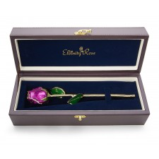 Purple Tight Bud Glazed Rose Trimmed with 24K Gold 11""