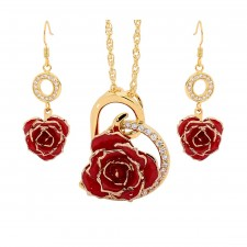 Red Matching Pendant and Earring Set - Heart Theme 24K Gold