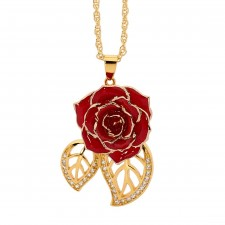 Red Glazed Rose Pendant in 24K Gold Leaf Theme