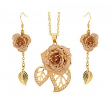 Gold-Dipped Rose & White Matched Jewelry Set in Leaf Theme