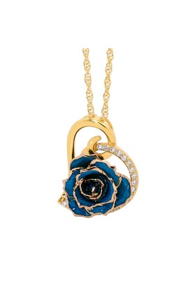 Blue Glazed Rose Heart Pendant 24K Gold
