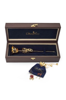 Gold-Dipped Rose & Red Matched Jewelry Set in Leaf Theme
