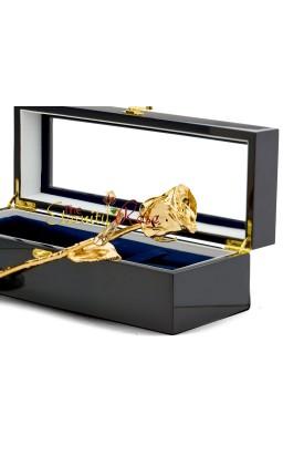 Gold-Dipped Natural Rose. Black Window Box