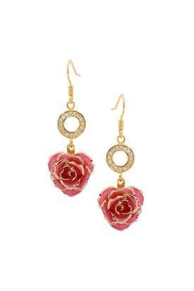 Pink Glazed Rose Earrings in 24K Gold