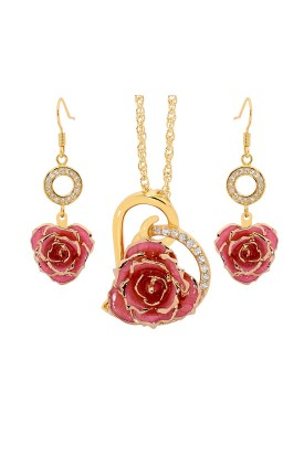 Pink Matched Set in Gold Heart Theme. Tight Bud Rose, Pendant & Earrings