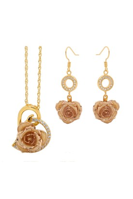 White Matching Pendant and Earring Set - Heart Theme 24K Gold