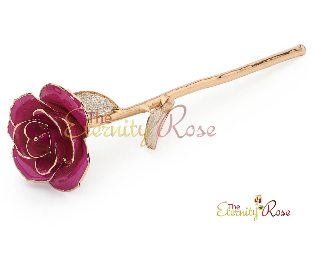 Purple Matched Set In 24k Gold Heart Theme Glazed Rose