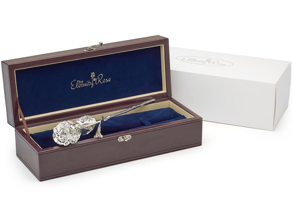 Silver Wedding Anniversary Gifts For Him: Gifts For Her-Silver Dipped Rose