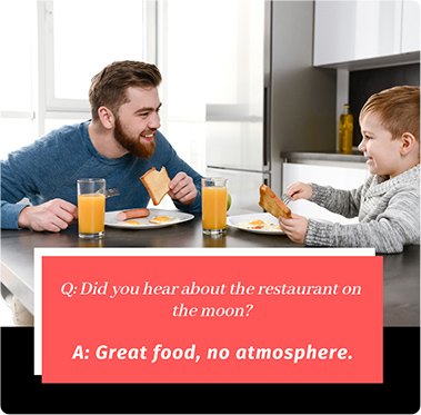 Dad jokes on restaurant on moon