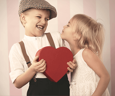 Kids with valentine heart